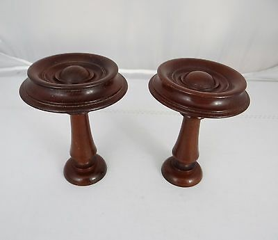 French Antique Decorative Mahogany Wood Pair ofCurtain Rod Finials Tiebacks 19th