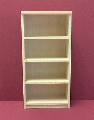 Dollhouse Miniature Handcrafted wood book - storage 4 shelf - ready to finish