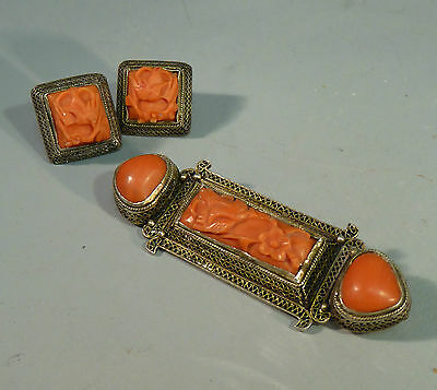 Chinese Antique Silver Filigree & Carved Red Coral Brooch & Earrings Set c1920's