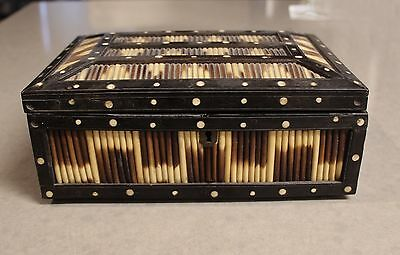 Rare Large Antique Victorian Ebony Porcupine Quill Jewelry Trinket Box