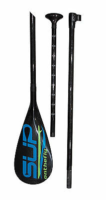 SUP OnTheFly Black Carbon Fiber 3 Piece Travel Paddle for Paddleboards