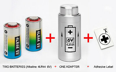 ADAPTER +TWO BATTERIES (4LR44 6V) for YASHICA ELECTRO 35 G,GS,GSN,GTN MG-1, AX .