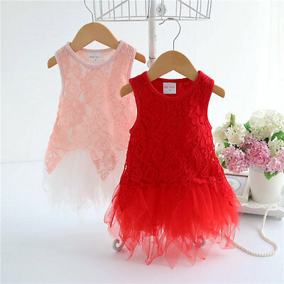 infant baby girls clothes summer dress baby lace flower party pageant dress