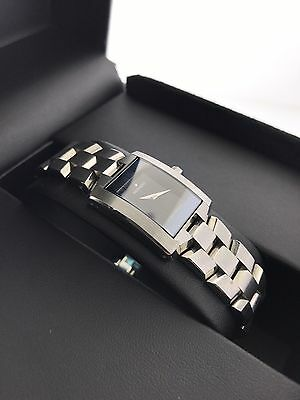 New Movado Eliro Ladies Rectangle Black Dial Steel Watch 84C1415A ~ Box & Papers