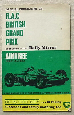 BRITISH GRAND PRIX FORMULA 1 1962 AINTREE F1 Official Race Programme