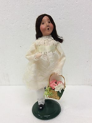 Byers Choice Caroler Spring May Girl in Ivory Dress Basket of Flowers Signed