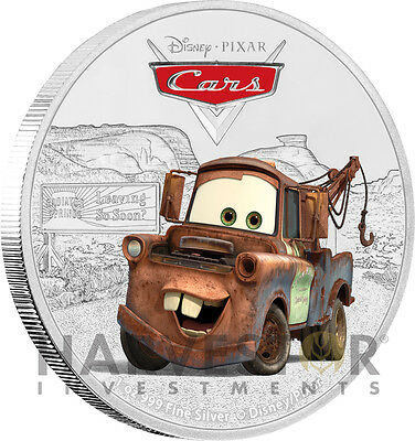 Disney Pixar Cars: Tow Mater - 1 Oz. Silver Coin - Ogp Coa - Fourth