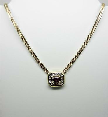 """Vintage 14K Yellow Gold Ruby And Diamond Necklace 16"""" Long - Appraised  - Lb2808"""