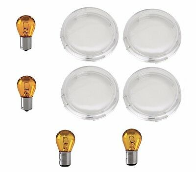 Clear Turn Signal Lens Kit with Amber Bulbs for Snap-in Harley Davidson Lights