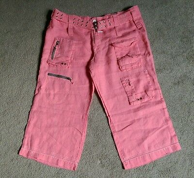PETE & GRETA/Johnny Was cargo capri cotton linen pink pants size 12