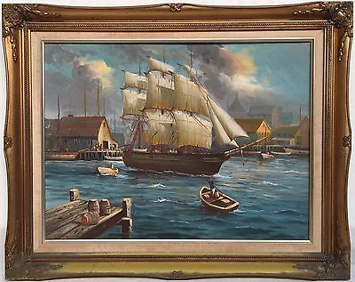 vintage J 'Wayne' Clements oil painting, old ship & port scene Australian artist