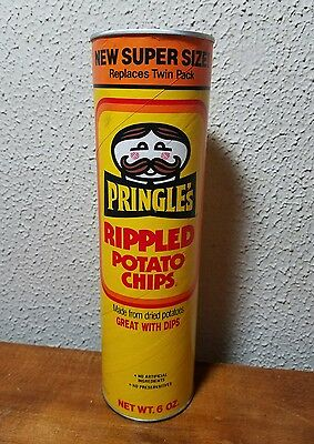 Vintage Pringles Original Yellow Can 80s/90s Rippled Potato Chips Empty Rare