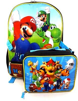 Limited Licensed Super Mario16In Backpack With Matching Lunch Bag Set