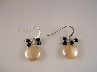 Sterling Silver, Pink Freshwater Coin Pearl With Faceted Black Stone Earrings