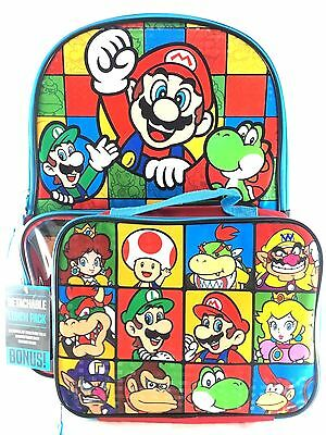 """Super Mario Boys & Girls Boss, Princess 16"""" School Backpack With Lunch Bag Set"""