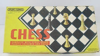 Spears Vintage Original Plastic Chess Set With Board In Original Box COMPLETE
