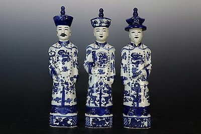Beautiful Chinese Blue and White Porcelain Three Kings Statue