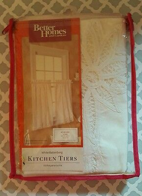 "Better Homes + Gardens Ivory Battenberg Kitchen Tiers 60""W x 36""L Curtain t14"