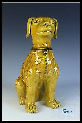Orient Chinese Yellow Porcelain Carved Dragon & Phoenix Dog Statue