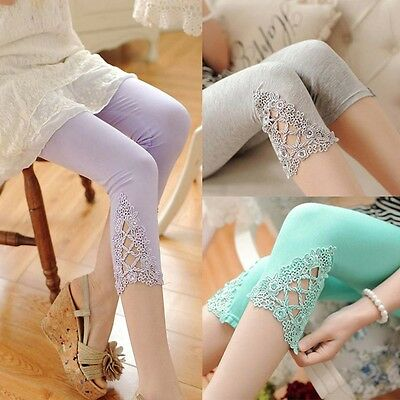Pregnant Women Adjustable Elastic Lace High Waist Soft Maternity Pants Leggings