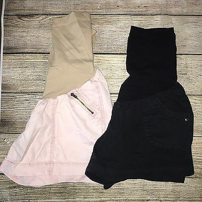 Motherhood Maternity Size Medium Shorts Lot Black Pale Pink Full Panel ���� B7
