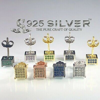 REAL SILVER 925 Sterling Iced Out 6mm CZ Square Earrings Hip Hop Stud Paved Mens