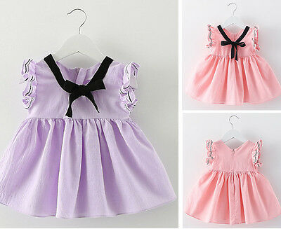 Baby Girl Kids Clothes Newborn Toddler Infant Bowknot Cotton Dress Summer Tops