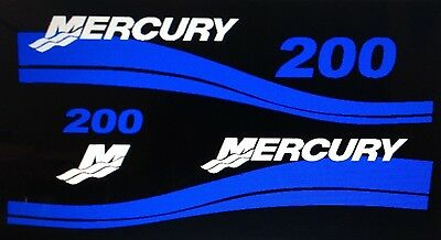 Mercury Outboard 25 - 225 HP Decal Kit,  Mercury outboard Blue Decal set