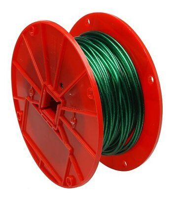 "Galvanized Steel Wire Rope on Reel, Vinyl Coated, 1x7 Strand, Green, 1/16"" Bare"