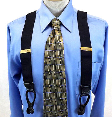 Men's Suspenders, Navy Blue Elastic with Black Leather, Made in England