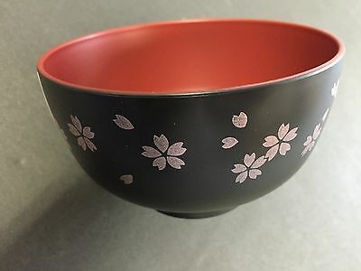 New Sakura Cherry Blossoms Miso Soup Bowl Black MADE IN JAPAN