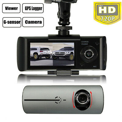 "2.7"" In Car Taxi CCTV Front & Rear Dual Camera HD Video Journey Recorder Cam GPS"