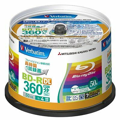50 Verbatim Blank Blu ray Discs BD-R DL 50GB 2 Dual Layer bluray VBR260YP50V1