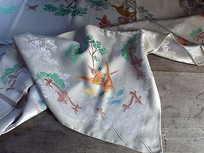 Vintage Irish Linen Hand Painted Double Damask Tablecloth Hunting Scene.