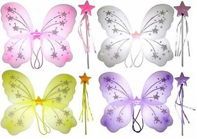 Butterfly Fairy Wings and Wand set Pink, White, Purple, Yellow