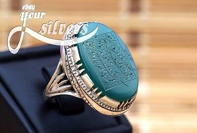 Rare islamic Ring 925 Sterling Silver Authentic Yemeni Aqeeq Real hand engraved