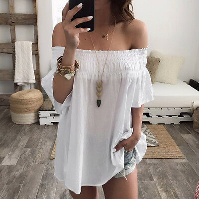 Women Off Shoulder Loose Tops Short Sleeve Casual Cotton Blouse T shirt US STOCK