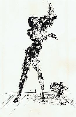 Salvador Dali Surreal Compossion Drawing Pen and Ink and Letter of Authenticity