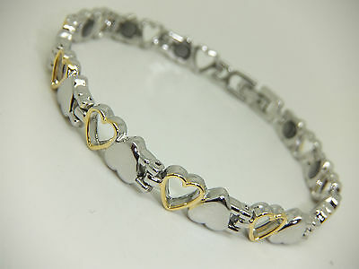 Womens Heart Shaped Gold & Silver Colour Magnetic Bracelet Gift Pouch Arthritis