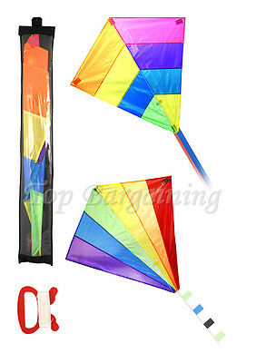 Children Diamond Kite Single Line Rainbow Kite 82*88cm Outdoor Beach Kids Toy