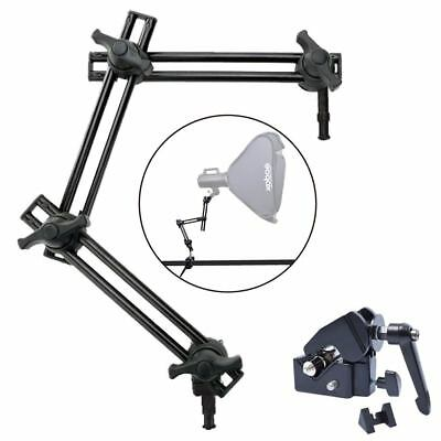 Studio 3-Section Double Articulated Boom Arm Holder + Super Clamp fr Flash Light
