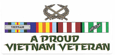 Proud Vietnam Veteran Ribbons Sticker With Acb Laminated Vinyl Sticker 75X165Mm
