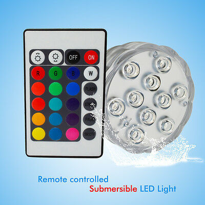 10Led RGB Submersible Led Underwater Light Battery Operated IP68 Waterproof Lamp