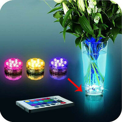 Hot Selling Multi Color Submersible 10LED Light Party Lamp Underwater W/ Remote