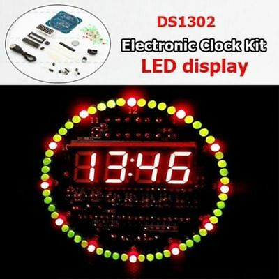 DS1302 Rotating LED Electronic Digital Clock for 51 SCM Learn 18b20 temperature