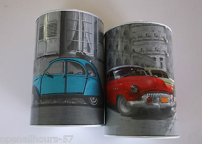 2 x Classic Cars Money Tins Saving up Money Box boxes  New