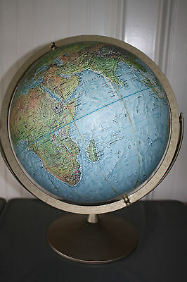 "Vintage Replogle 12"" Land & Sea Relief Raised Terrain Double Axis World Globe"