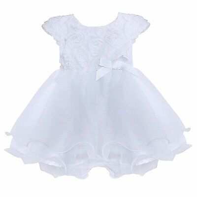 FEESHOW Infant Baby Girls Organza Layered Baptism Dress White 6-9 Months