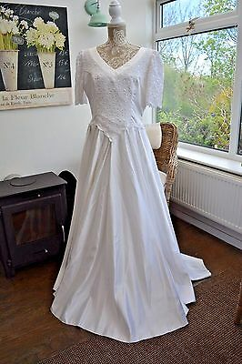 Vintage 1980's White Satin/Lace Wedding Hen TV Party Theatre Fancy Dress UK 18