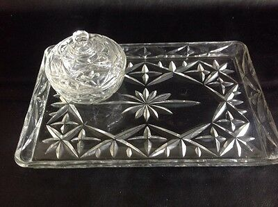 Dressing Table Cut Glass Trinket / Vanity Tray And Glass Trinket Pot With Lid -